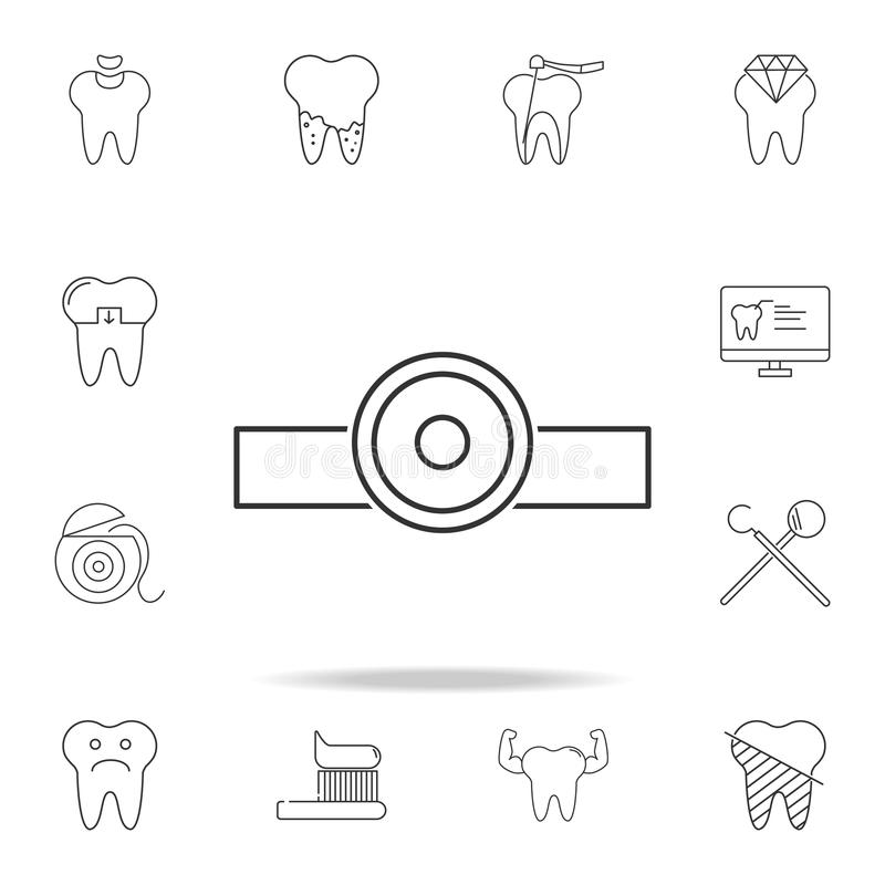 Dental mirror icon. Detailed set of dental outline line icons. Premium quality graphic design icon. One of the collection icons fo. R websites, web design royalty free stock photo