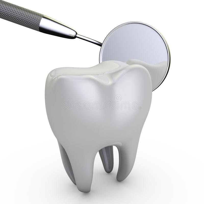 Dental mirror. Molar tooth and a dental mirror on a white background stock illustration