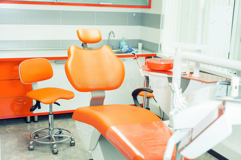 Dental modern office. Dentistry interior. Medical equipment. Dental clinic stock photography