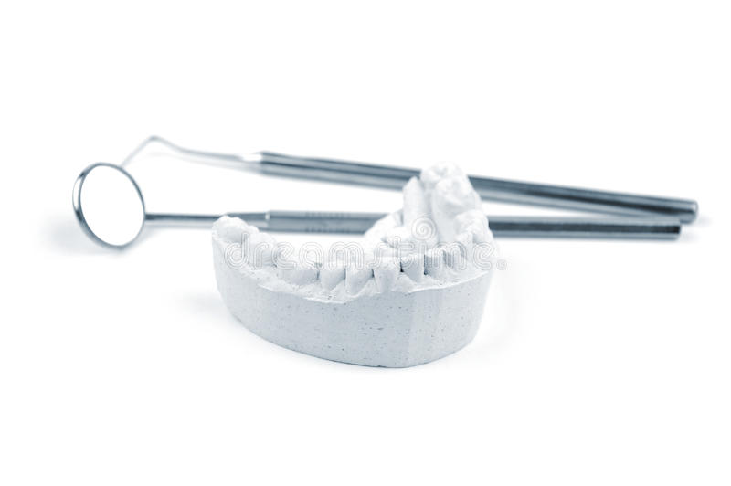 Dental mold and dental tools royalty free stock photography