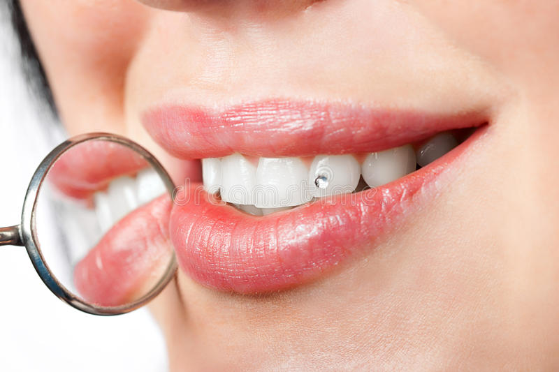 Download Dental Mouth Mirror Near Healthy White Woman Teeth Stock Image - Image: 20616329