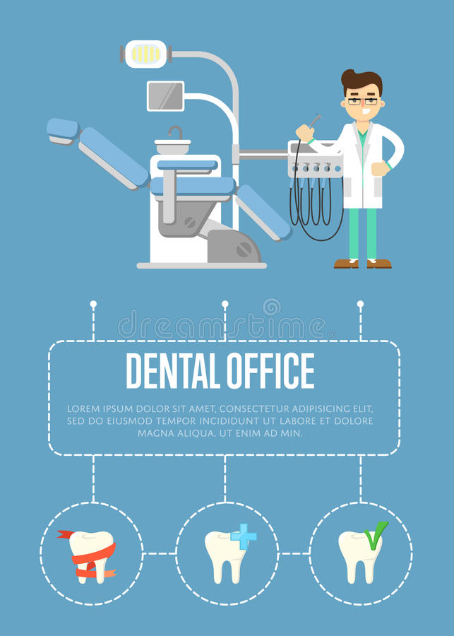 Dental office banner with dentist and dental chair. Smiling male dentist in white coat standing near modern dental chair on blue background, infographics poster stock illustration