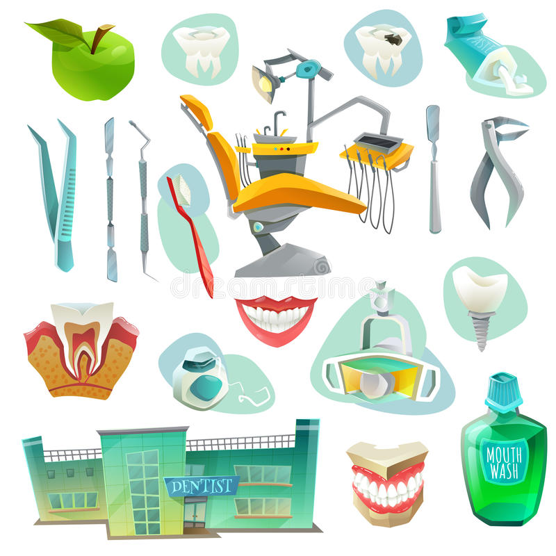Dental Office Decorative Icons Set. With workplace medical instruments objects for health of teeth vector illustration royalty free illustration