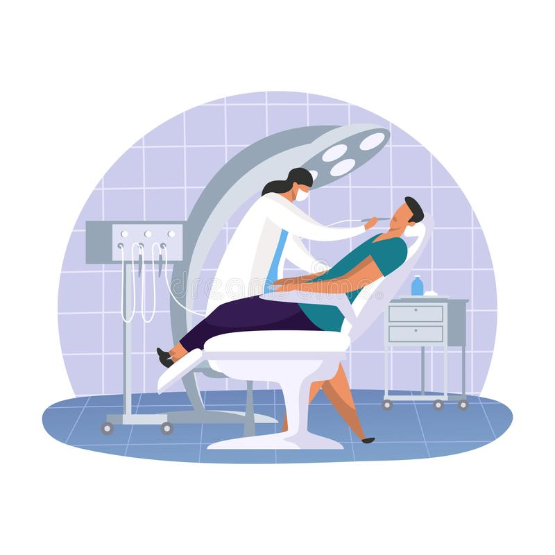 Dental office with dentist woman and patient vector illustration