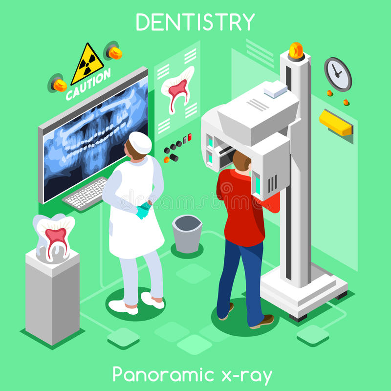 Dental panoramic teeth x ray radiography oral imaging dental center dentist and patient. stock illustration