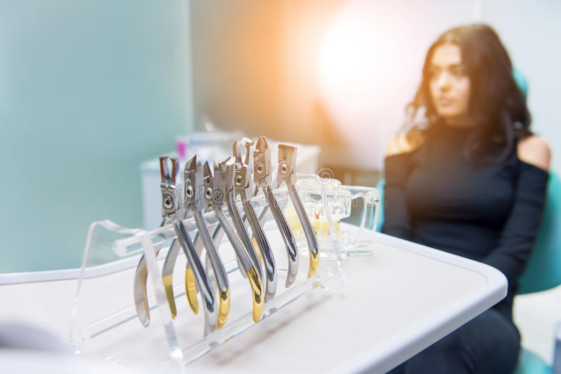 Dental pliers set. royalty free stock photos
