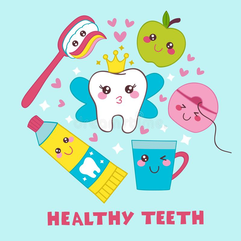 Dental poster with tooth Fairy royalty free illustration