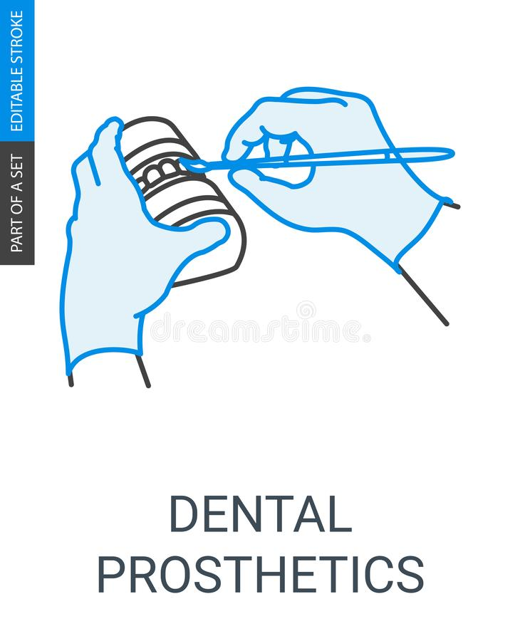Dental prosthesis construction icon vector illustration