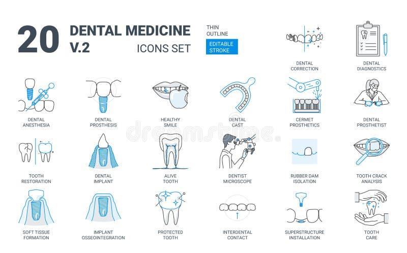 Dental Prosthesis Icon Set in Flat Outline Style royalty free illustration