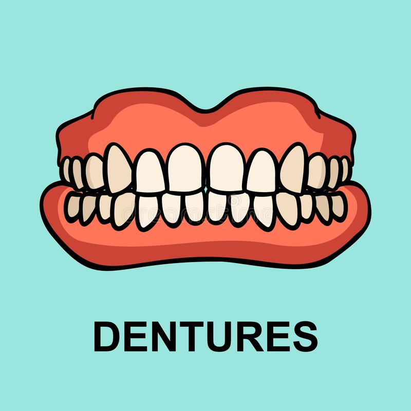 Dental prosthesis, tooth orthopedics sign. vector illustration