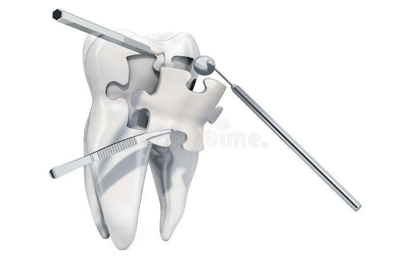 Dental recovery and treatment concept, 3D rendering. Isolated on white background royalty free illustration