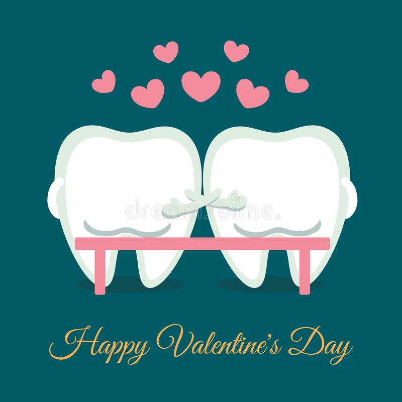Dental romantic Valentine`s Day card. Cartoon teeth sitting on the bench. Greeting from dentistry. Dental valentine card. Cartoon teeth sitting on the bench stock illustration