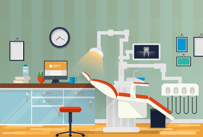 Dental room or cabinet for tooth care. Orthodontics or stomatology office for patient oral treating with drill and lamp stock illustration