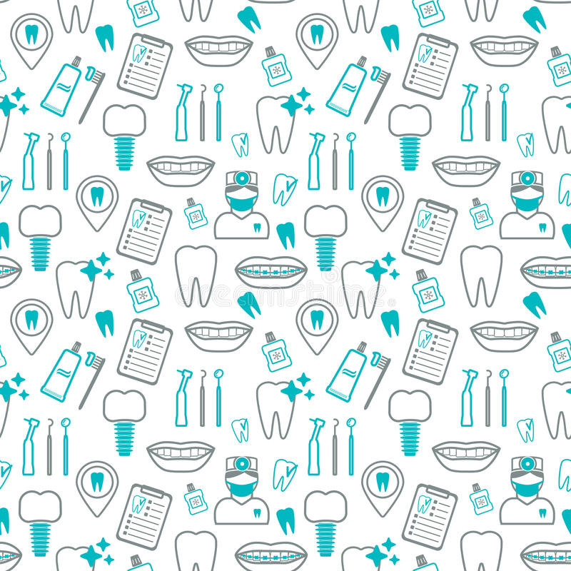 Dental seamless pattern. Linear icons. Flat design. Vector royalty free stock photography