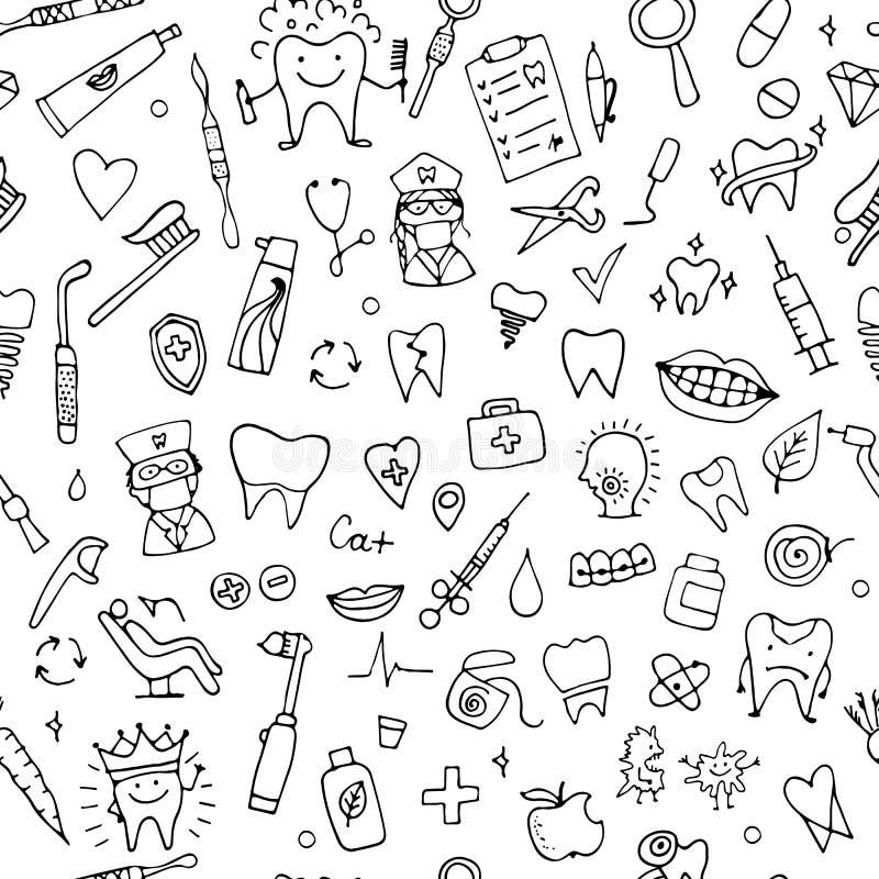 Dental seamless pattern, sketch for your design. Vector illustration vector illustration