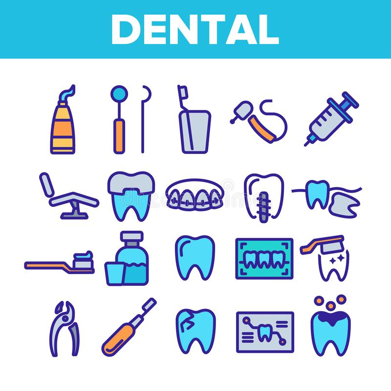 Dental Services, Stomatology Linear Vector Icons Set. Dentistry Clinic Thin Line Symbols Pack. Dentist Equipment Pictograms. Oral Cavity Treatment, Teeth Cure royalty free illustration
