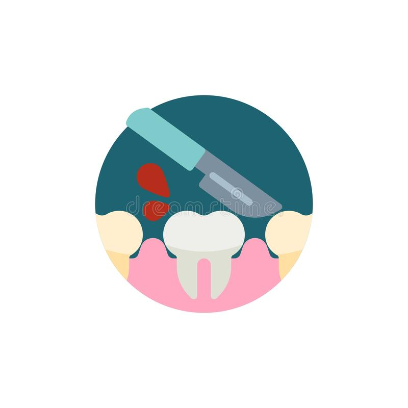 Dental surgery flat icon. Round colorful button, Tooth and medical knife circular vector sign. Human teeth and scalpel flat style design vector illustration