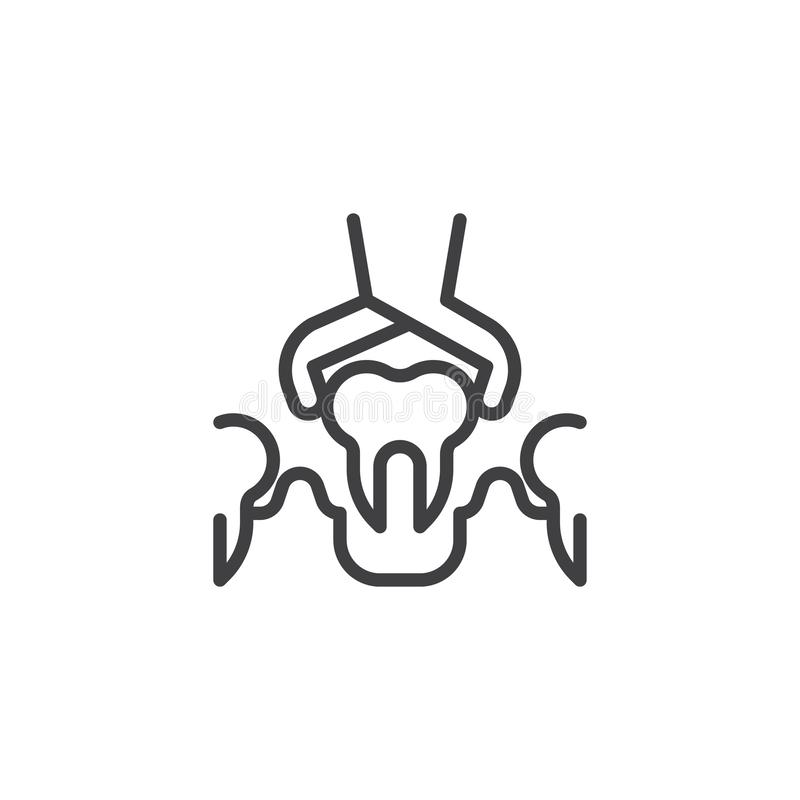 Dental Surgery line icon. Linear style sign for mobile concept and web design. Dental Removal Diseased Tooth by Medical Forceps outline vector icon. Symbol royalty free illustration