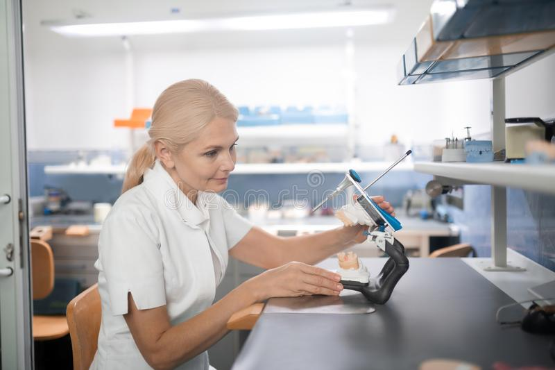 Dental technician examining cast model of teeth before working. Thinking of the options. Smiling dental technician sitting at her table examining cast model of stock photos