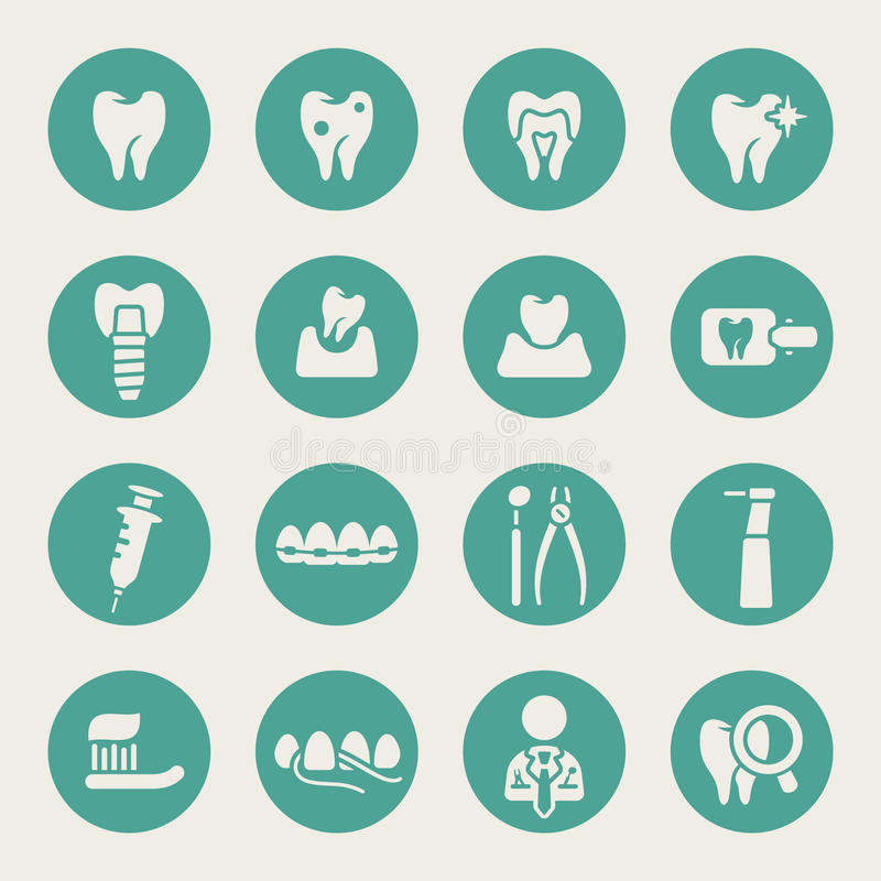 Dental theme flat icons royalty free illustration