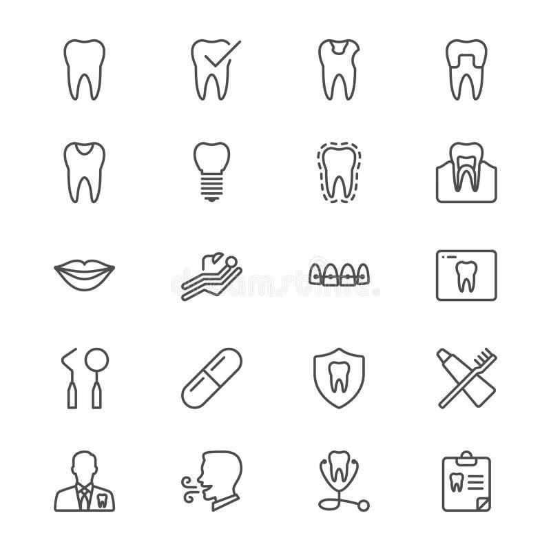 Dental thin icons royalty free illustration