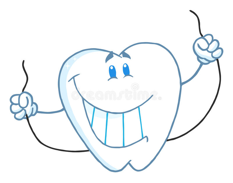 1 Toothed Cartoon Characters : Dental tooth character holding floss royalty free stock