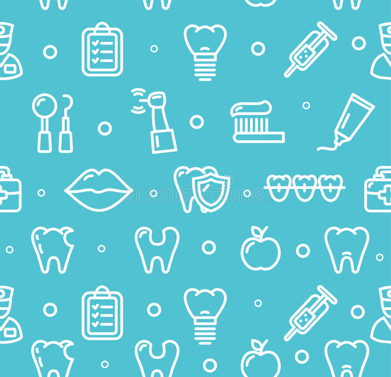 Dental Tooth Clinic Background Pattern. Vector. Dental Tooth Clinic Background Pattern on Blue. Vector illustration vector illustration