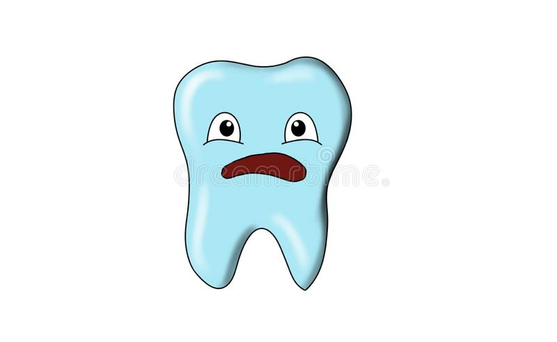 Dental tooth smile. Dental smile in action, tooth smile, blue tooth, Bluetooth, smiles of an tooth for emoji, emojis stock illustration