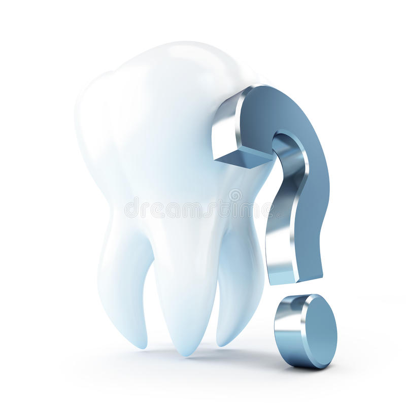 Dental treatment under a question mark. 3d Illustrations on a white background stock illustration