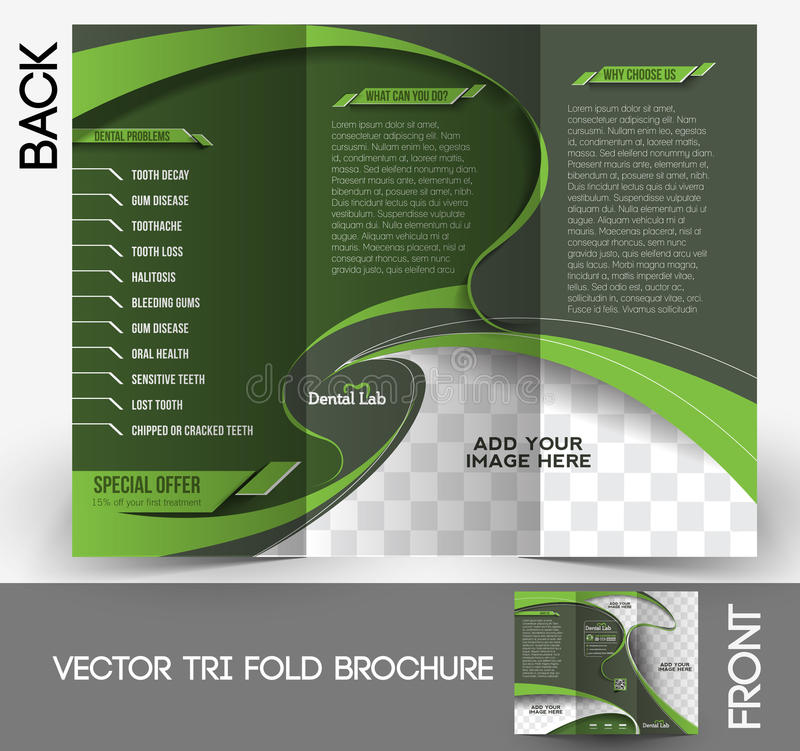 Dental Tri-fold Brochure. Design Vector Illustartion royalty free illustration