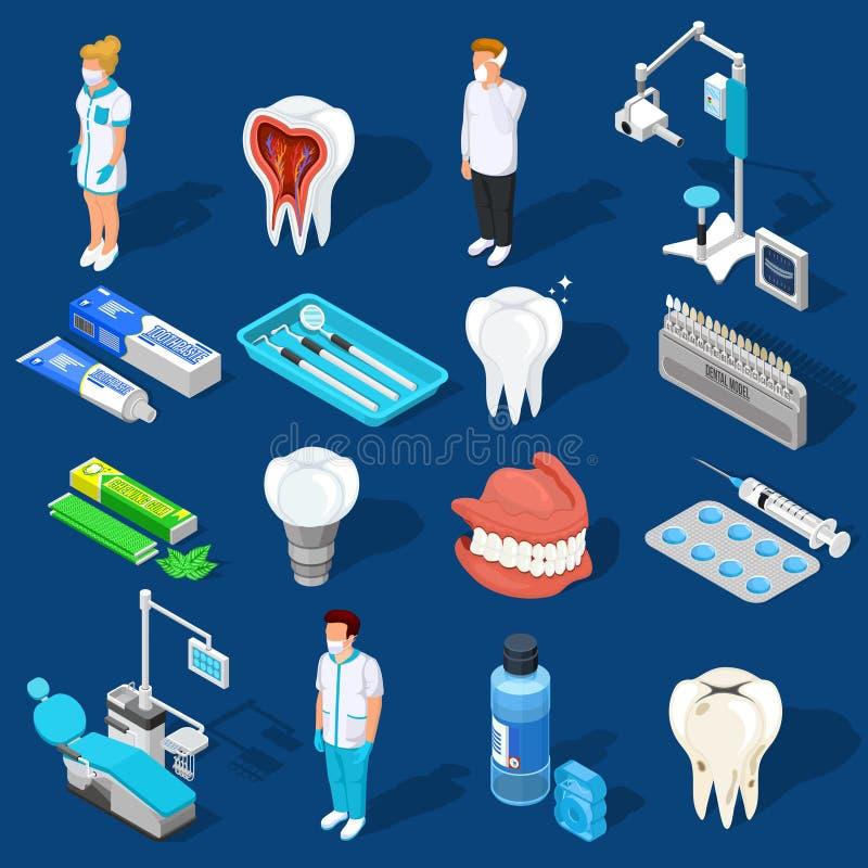 Dental Work Elements Set vector illustration