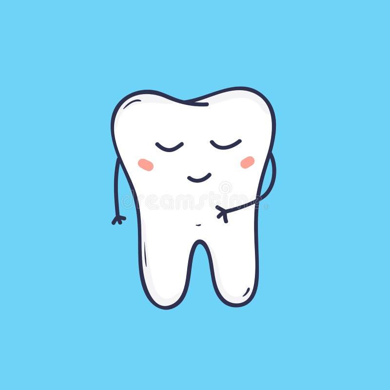 Dente alegre bonito do molar com cara calma Símbolo adorável para a clínica dental, hospital da odontologia, centro de assistênci ilustração stock