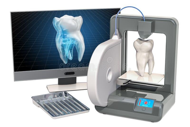 Dente artificial na impressora tridimensional, impressão 3d no conceito do stomatology rendição 3d ilustração royalty free