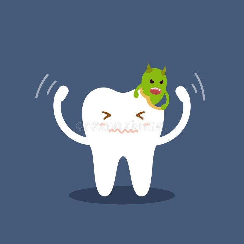 Dente attaccato dai germi delle carie Illustrazione piana di vettore del fumetto isolata su fondo blu Cura dentaria dei bambini illustrazione di stock