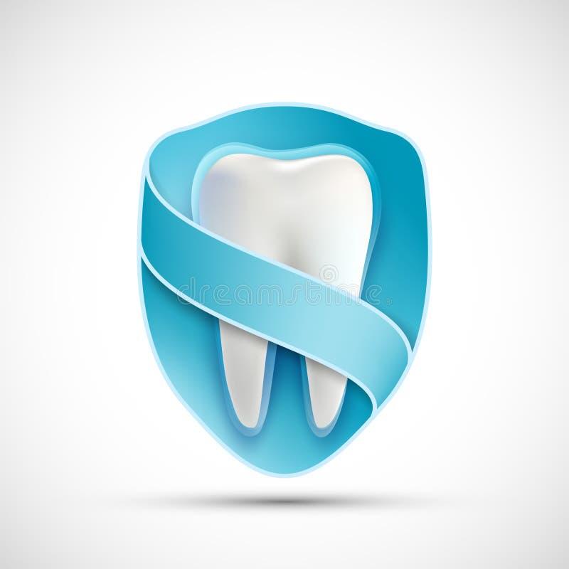 Dente bianco di logo nello schermo illustrazione di stock