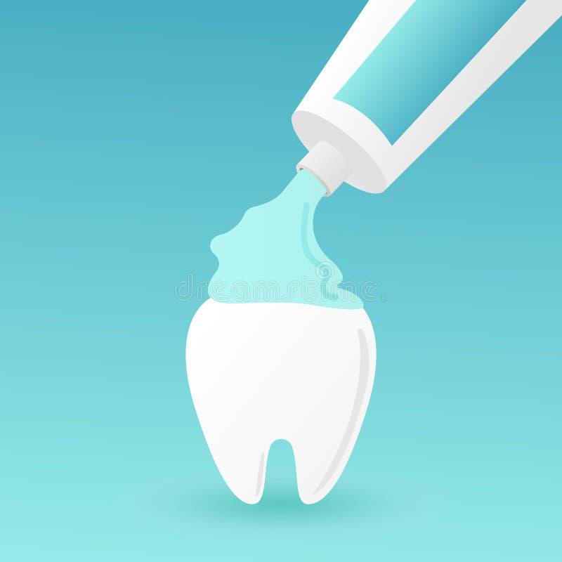 Dente bianco sano che tiene dentifricio in pasta, concetto di spazzolatura dei denti - dente sveglio del fumetto di stile piano d royalty illustrazione gratis