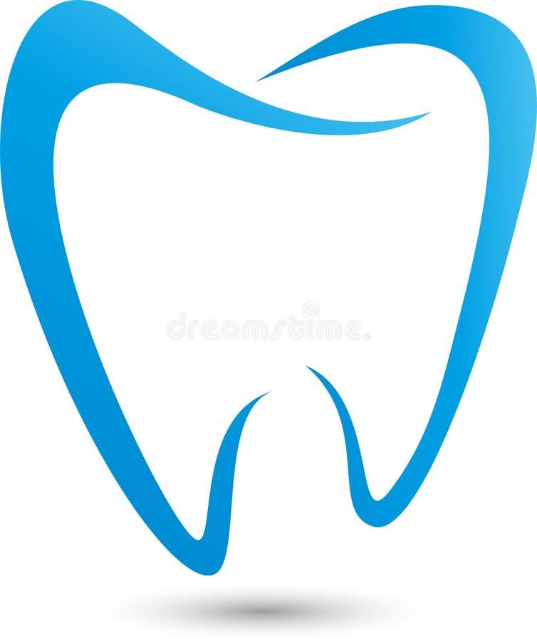 Dente in blu, nel logo di odontoiatria, in dente e nel logo di cure odontoiatriche, icona del dente illustrazione di stock