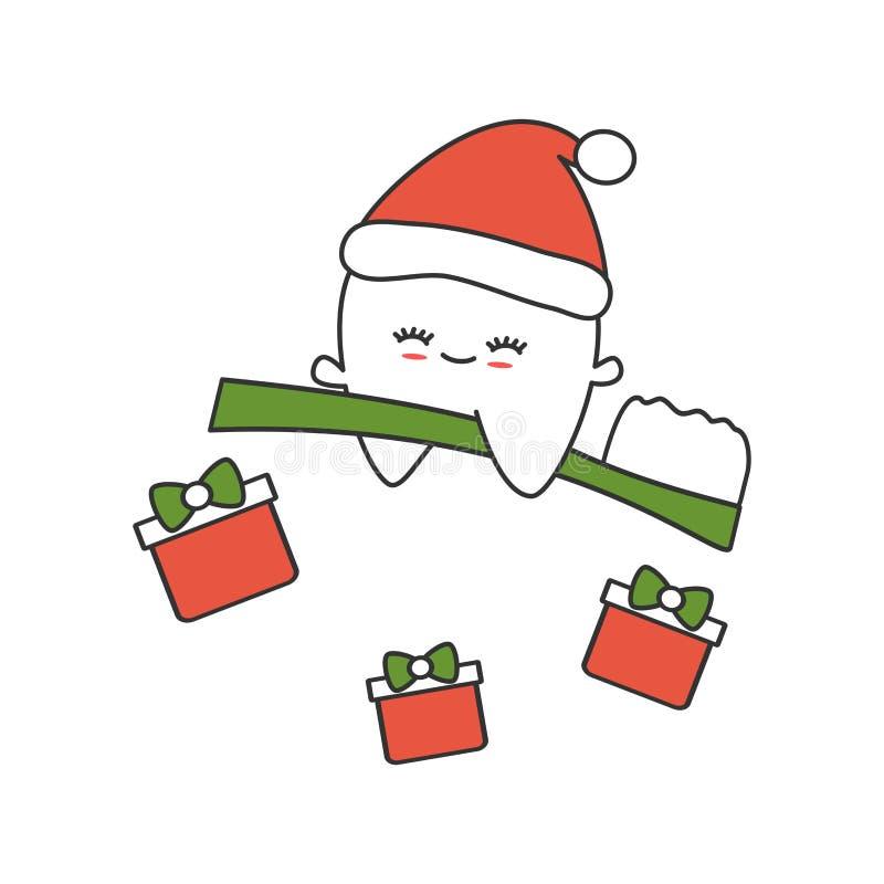 Dente bonito dos desenhos animados com voo do chapéu de Santa na ilustração engraçada do vetor do Natal da escova de dentes ilustração royalty free