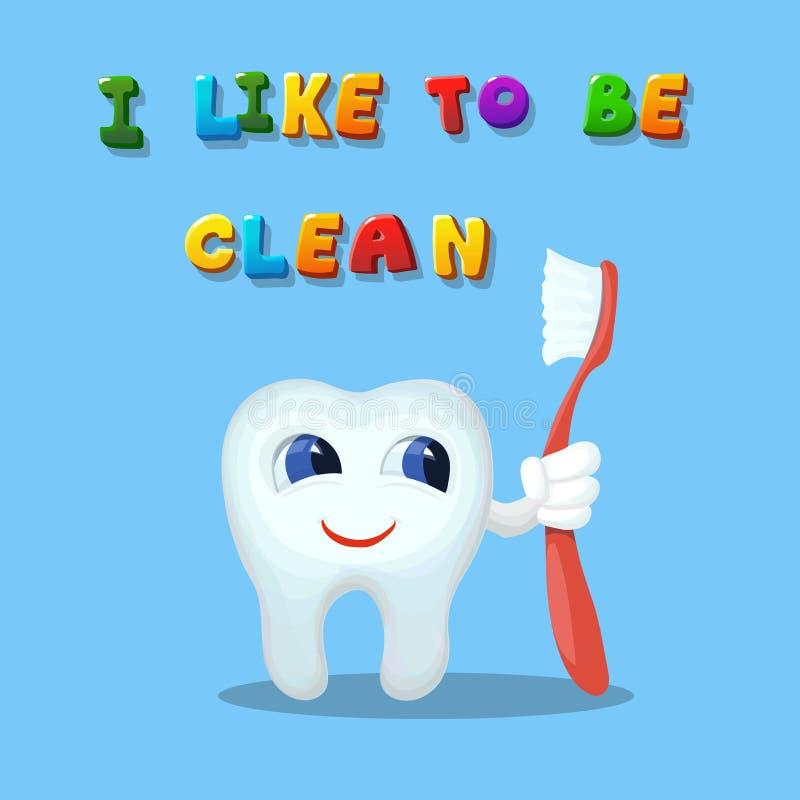 Dente bonito dos desenhos animados como a limpeza com uma arte da escova ilustração royalty free