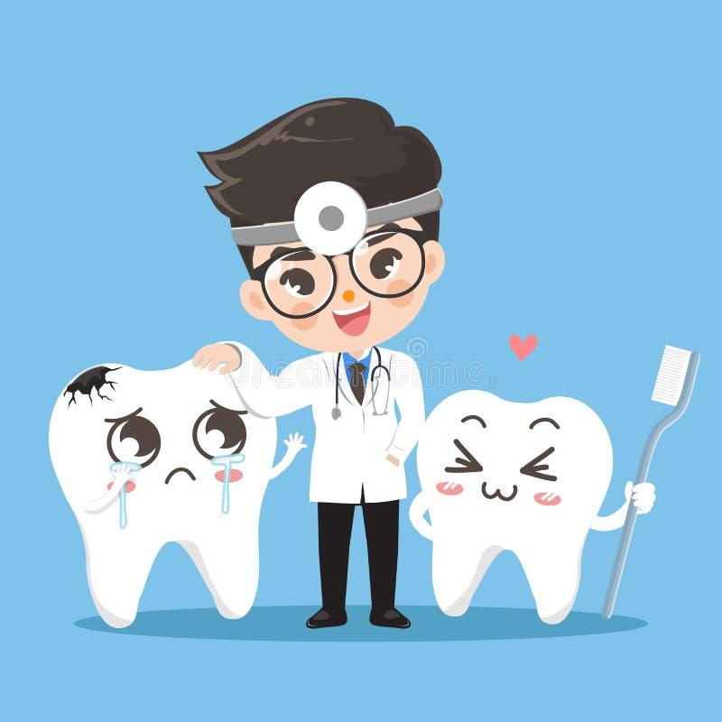 Dente bonito e sorriso do dente junto ilustração stock