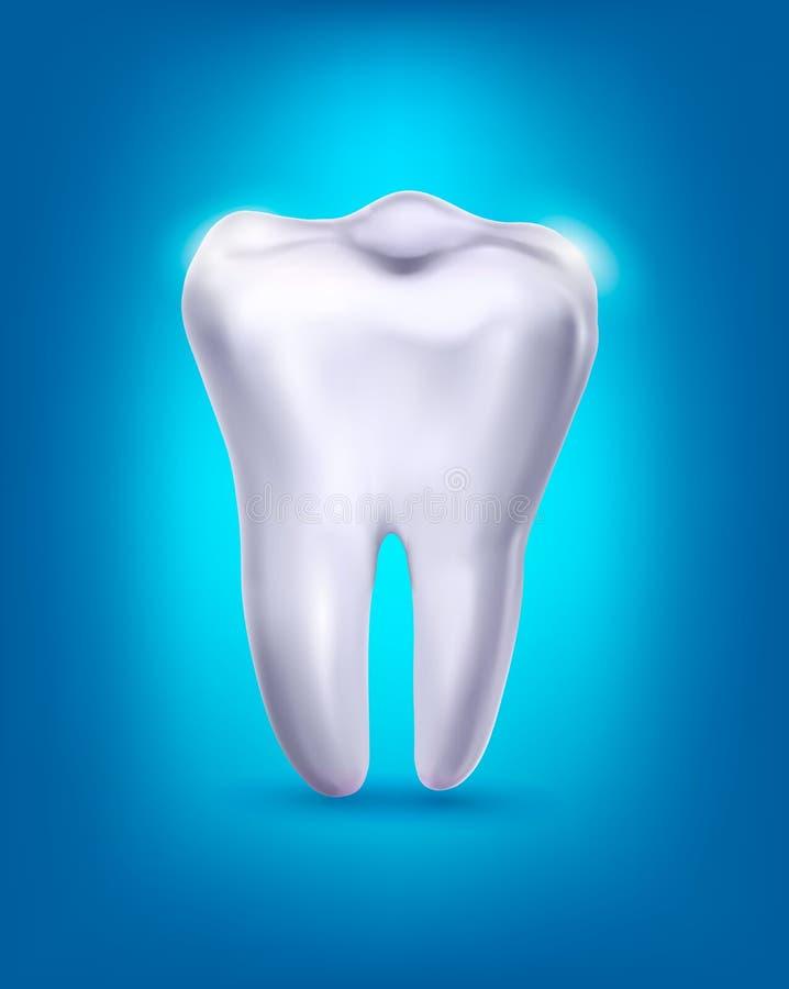 Dente branco em um fundo azul. R. ilustração do vetor