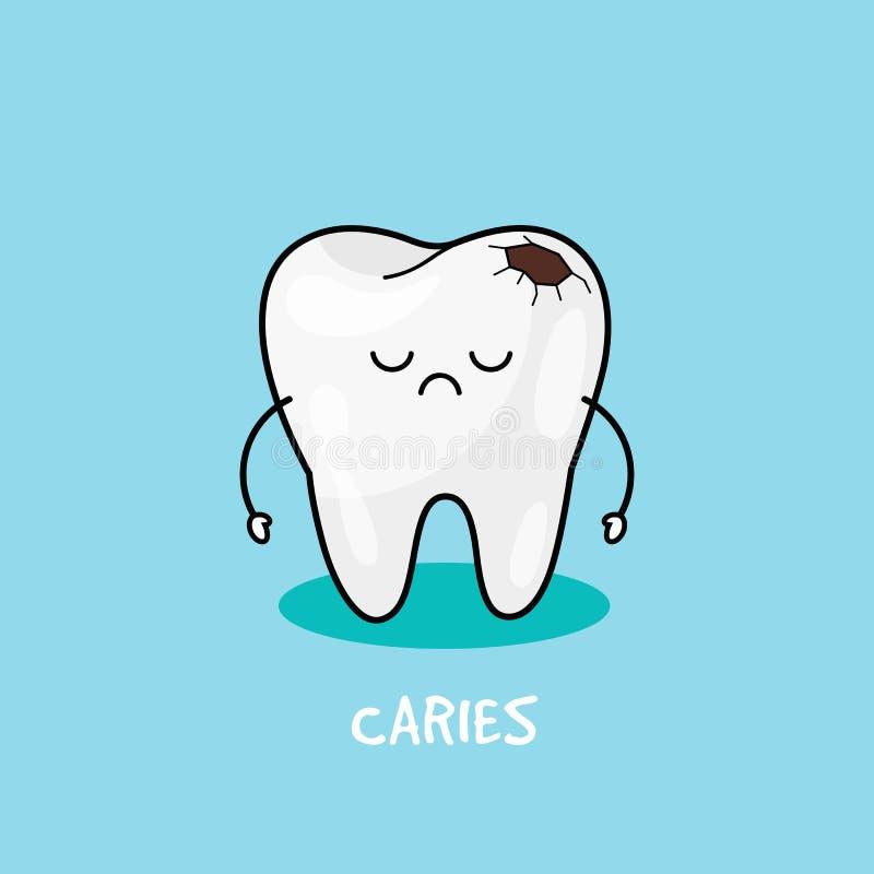 Dente com ícone da cárie Ilustração para a odontologia de crianças Higiene oral, limpeza dos dentes ilustração royalty free
