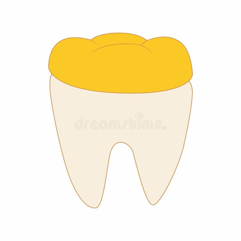 Dente com ícone dental dourado da coroa, estilo dos desenhos animados ilustração do vetor