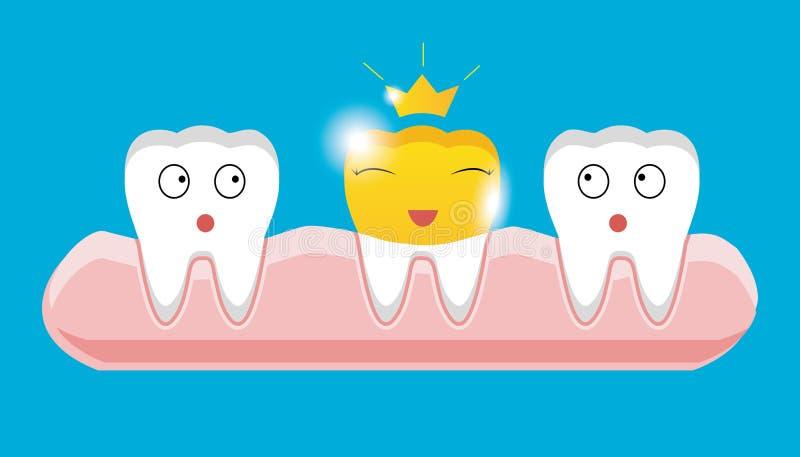 Dente com ícone dental dourado da coroa no estilo dos desenhos animados ilustração do vetor