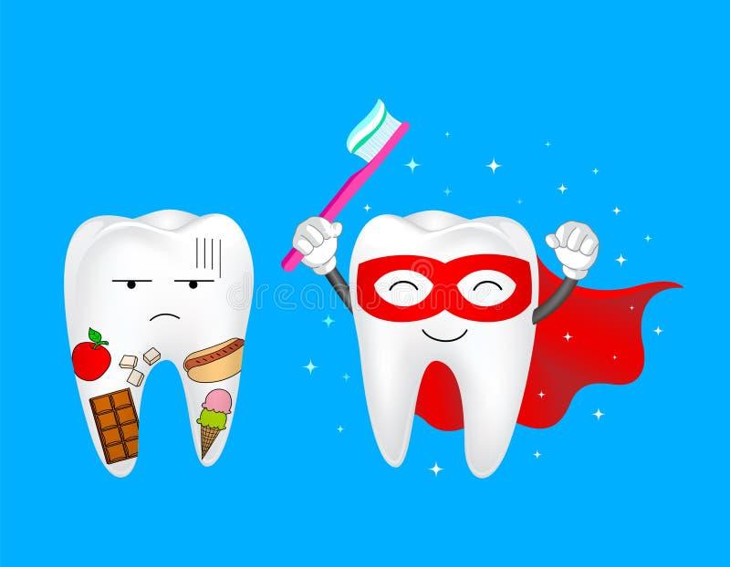 Dente com alimento e caráter super do dente ilustração do vetor