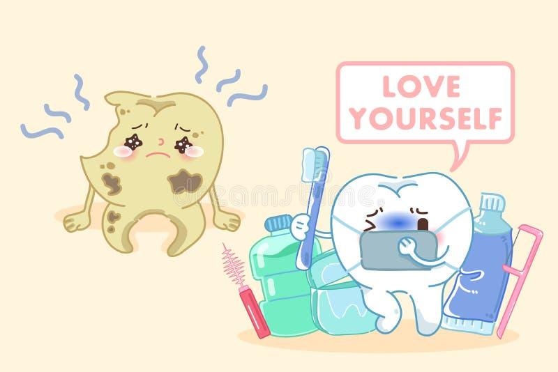 Dente com conceito do amor você mesmo ilustração stock