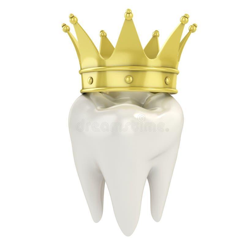 Dente com coroa dourada ilustração stock