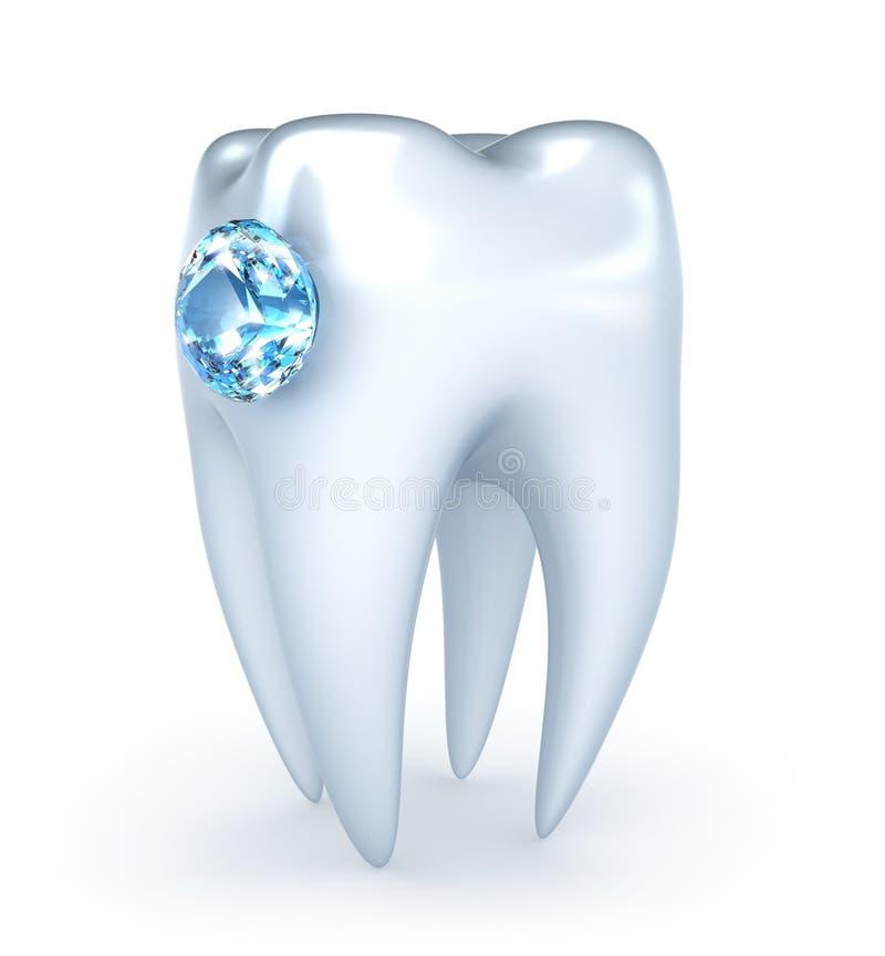 Dente com diamante azul ilustração do vetor