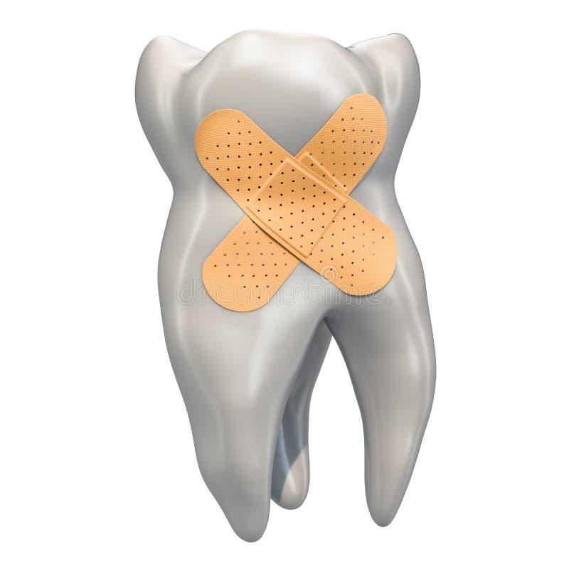 Dente com emplastros esparadrapos Conceito dental da recuperação, rendição 3D ilustração do vetor