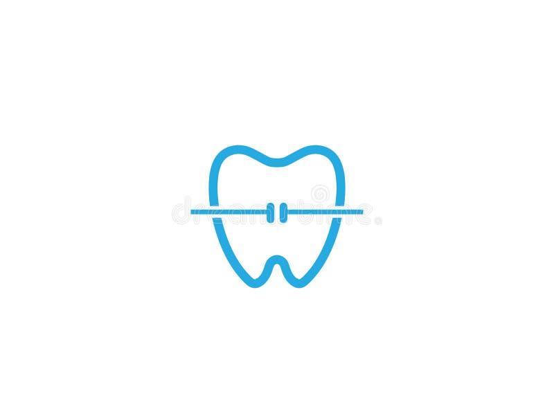 Dente com fio dental para ortodôntico para o projeto do logotipo ilustração do vetor